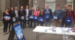 Outside the office, getting wired up for a great big canvass.